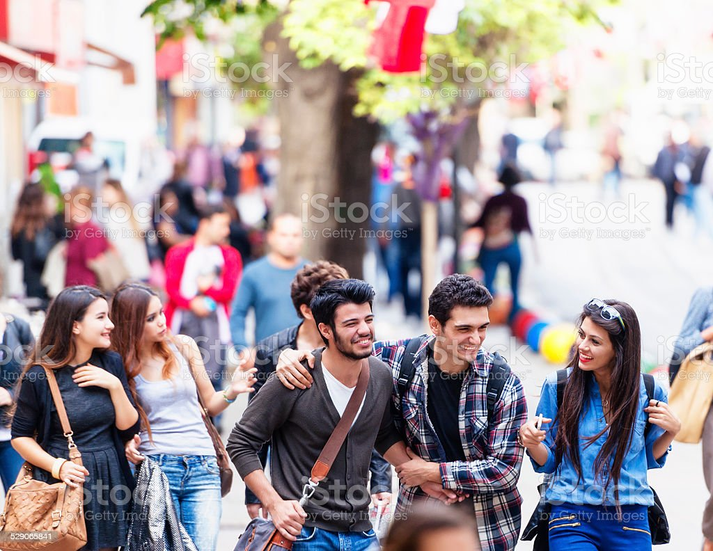 Group of young friends on Bahariye Street Istanbul stock photo