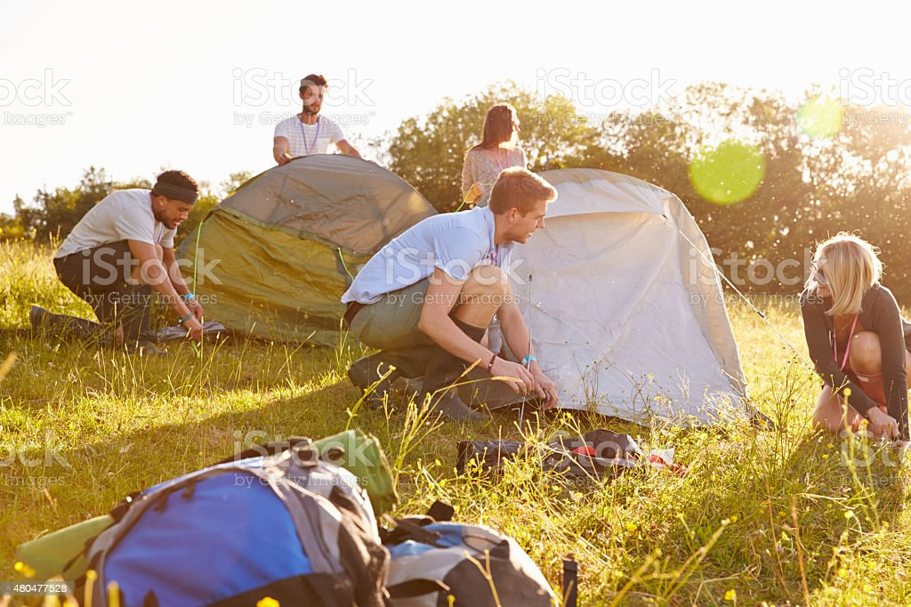 Group Of Young Friends Pitching Tents On Camping Holiday stock photo