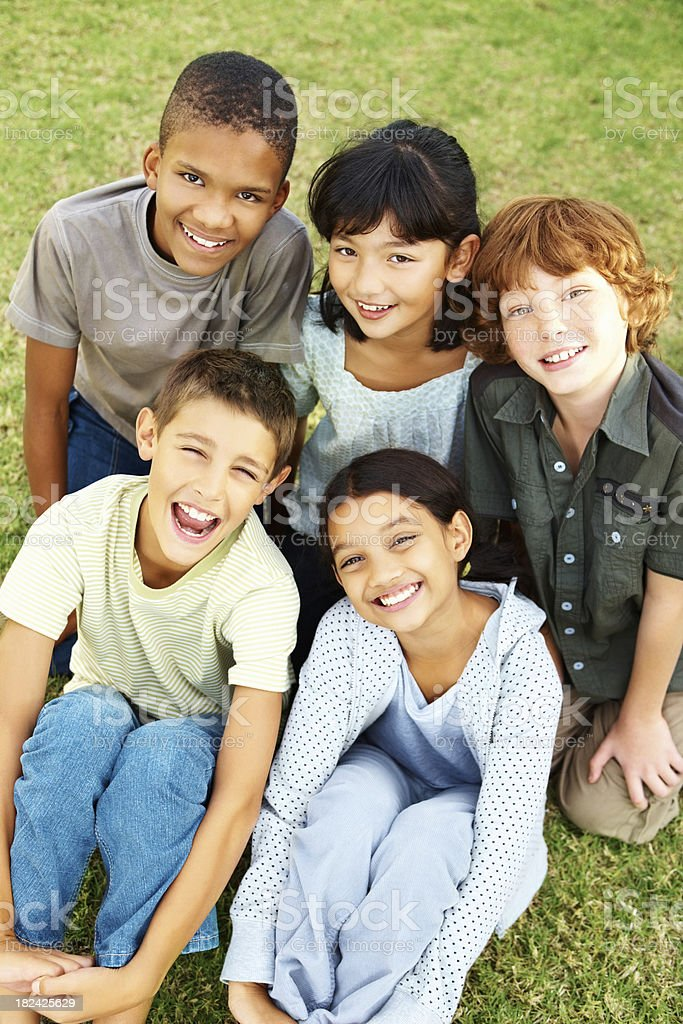 Group of young kids having fun stock photo