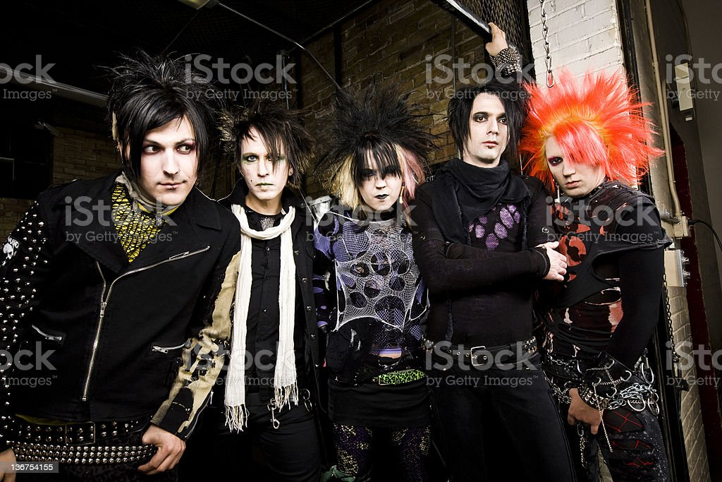 Group of Young Male Punk Rockers stock photo