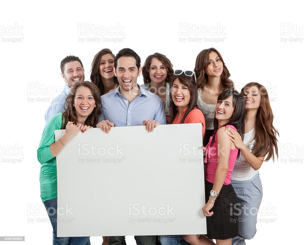 Group of young men and women holding blank placard stock photo