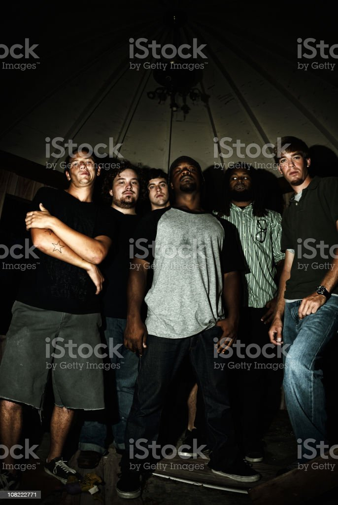 Group of Young men, Low key royalty-free stock photo