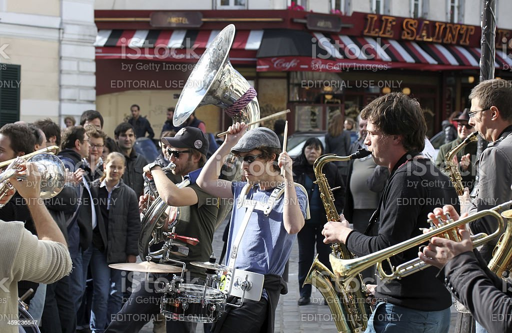 Group of young musicians on Montmartre in Paris stock photo