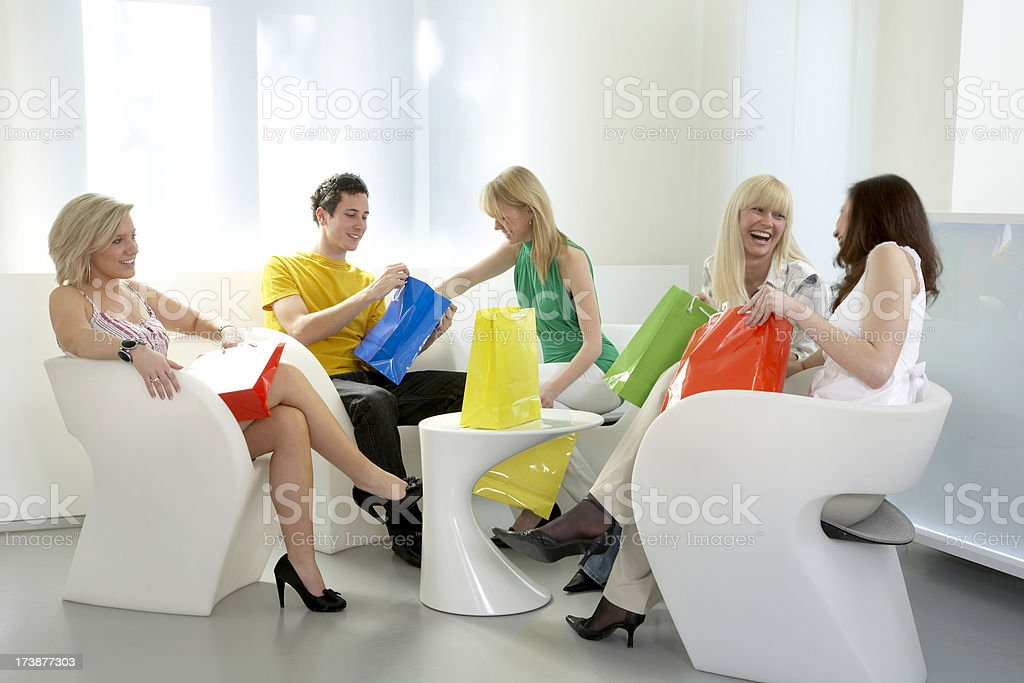 Group of young people after shopping stock photo