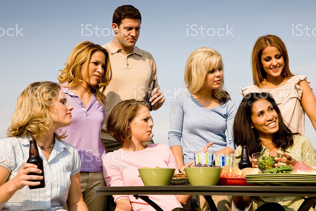 Group of Young People at Barbeque royalty-free stock photo