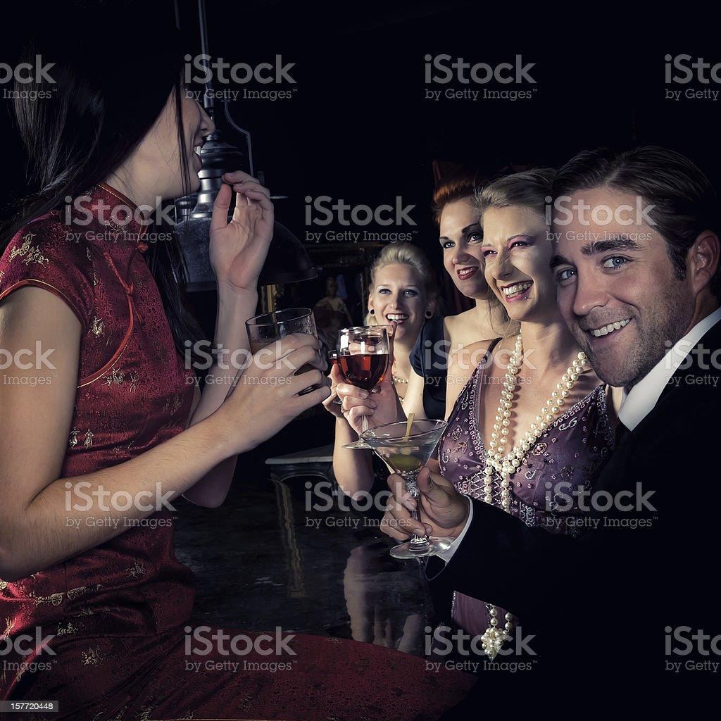 Group of young people at the bar - IV royalty-free stock photo