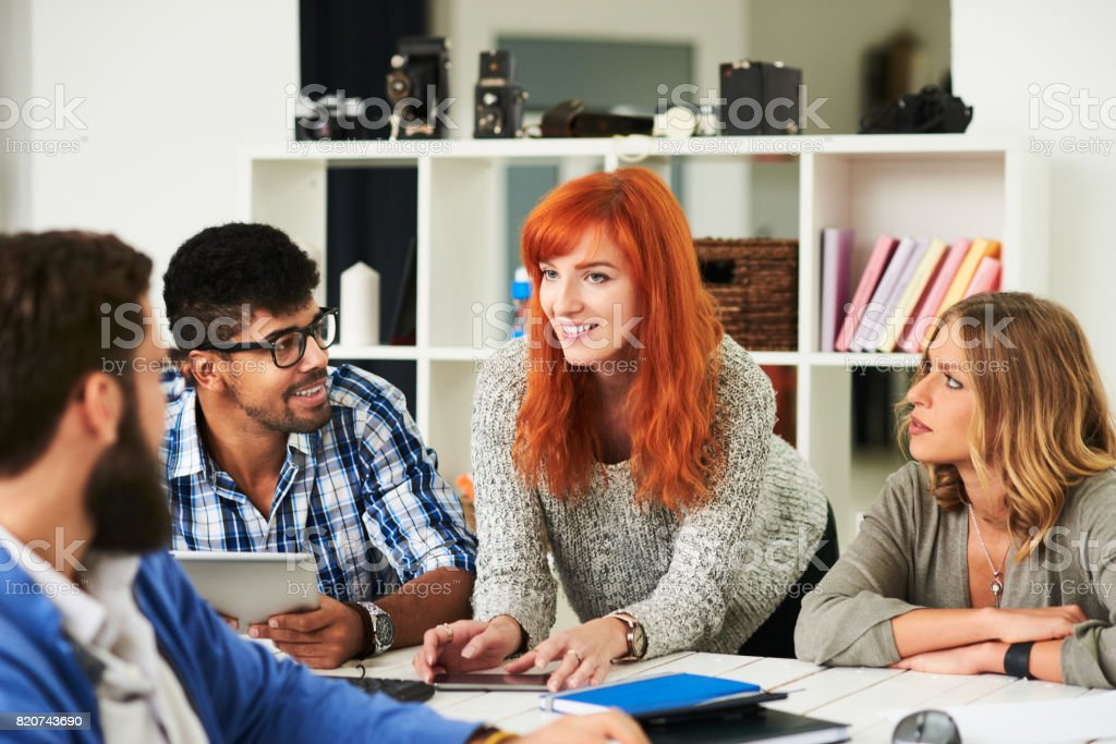 Group of young people at the office stock photo