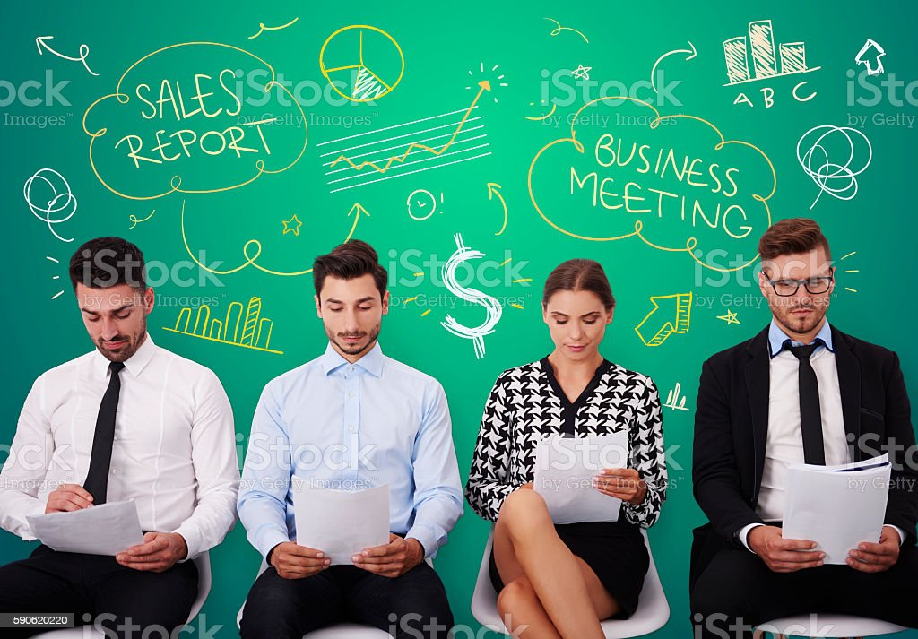 Group of young people during business meeting stock photo