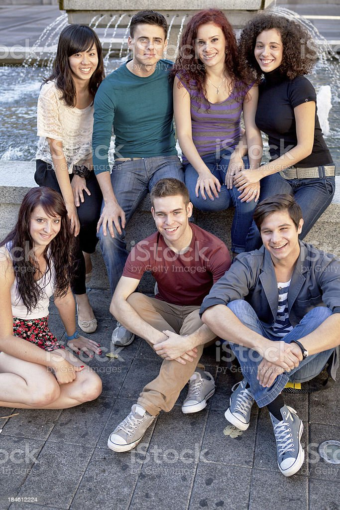 Group of young people hanging out royalty-free stock photo