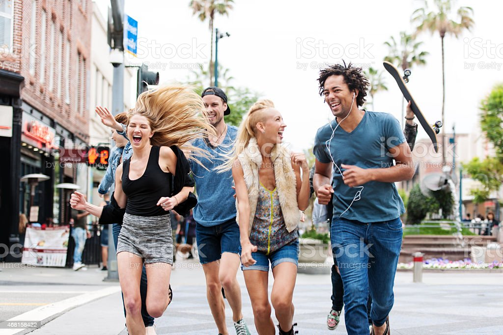 Group of young people in Santa Monica stock photo