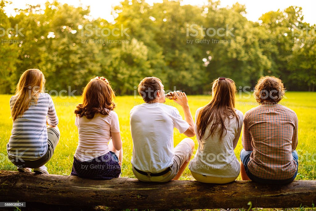 Group of young people looking at sunset in park. stock photo