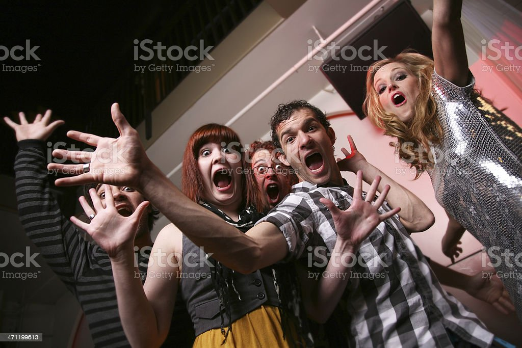 Group of Young People Posing with Crazy Faces royalty-free stock photo