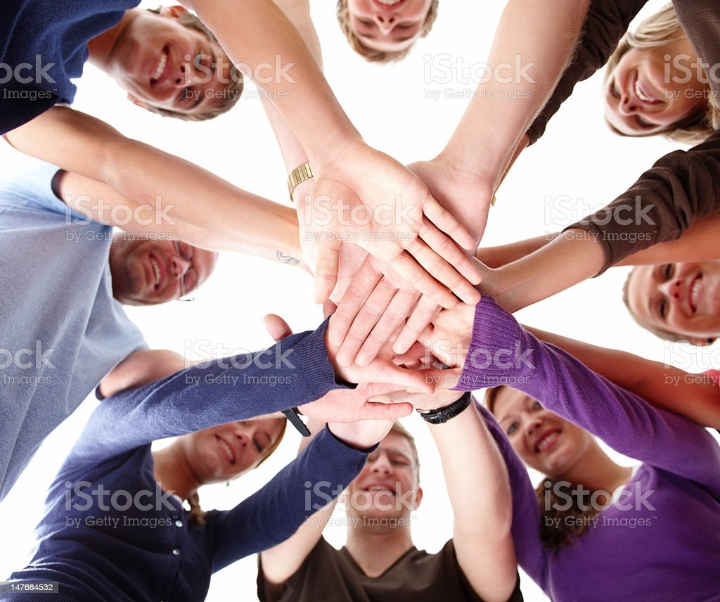 Group of young people showing unity royalty-free stock photo