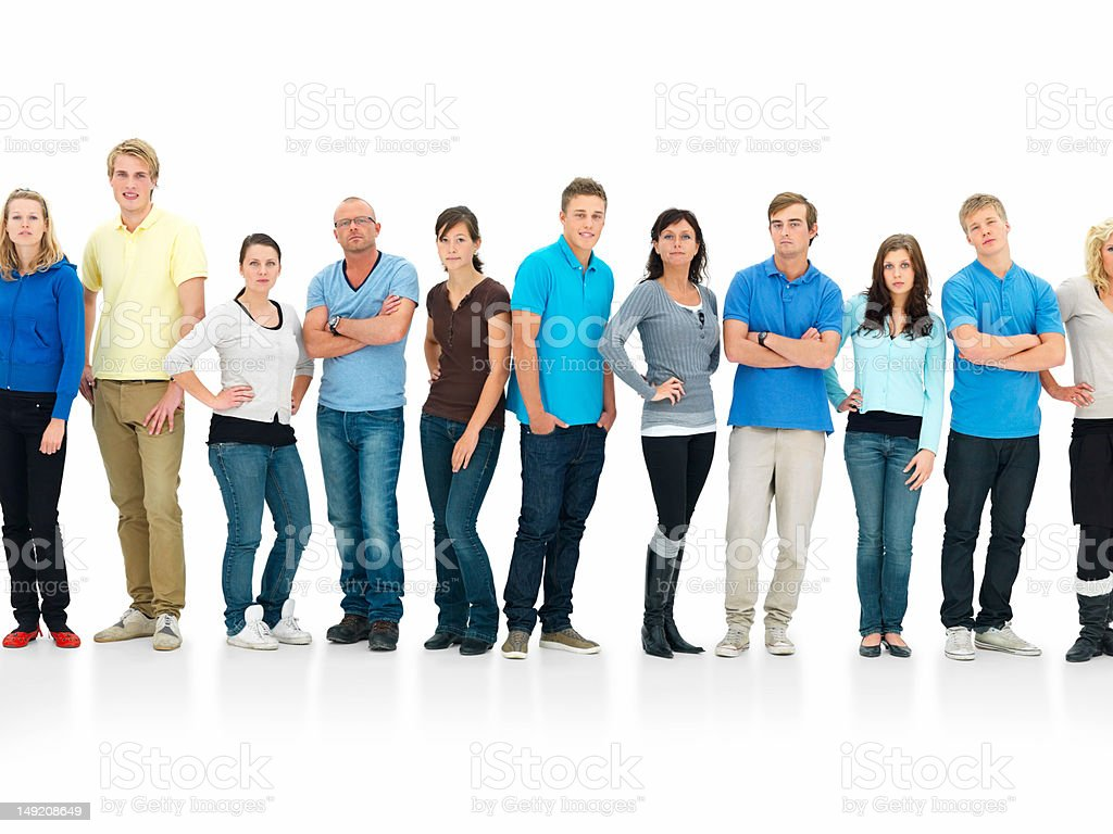 Group of young people standing in a line stock photo