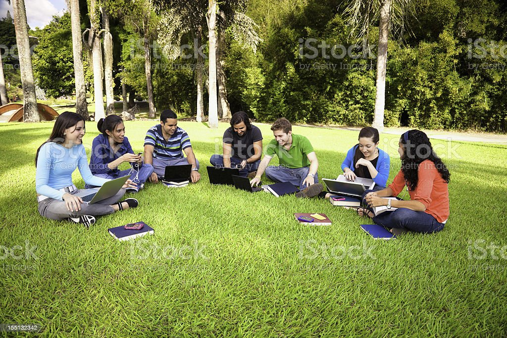 Group of young people studying at university campus royalty-free stock photo