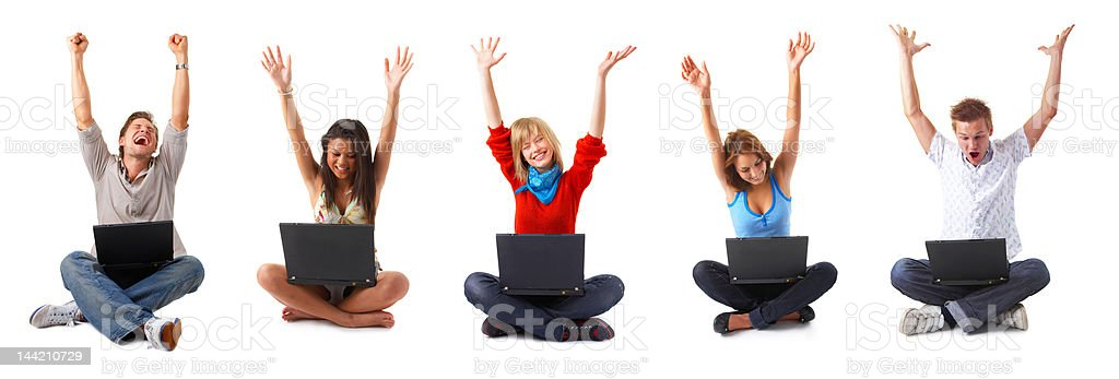 Group of young people with their laptops stock photo