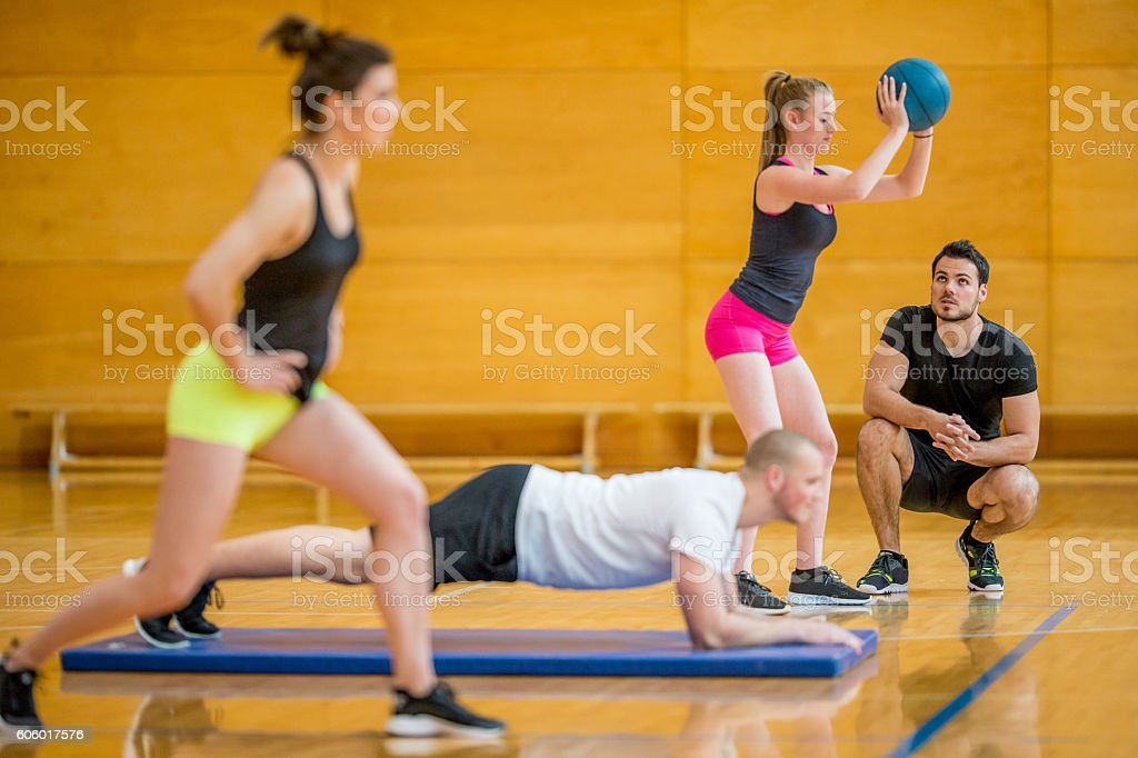 Group of Young People Working Out stock photo