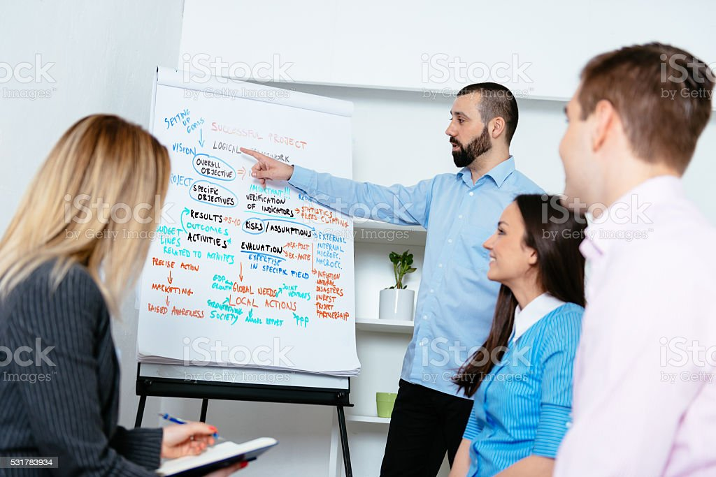 Group of young professionals on corporate workshop discussing project management stock photo