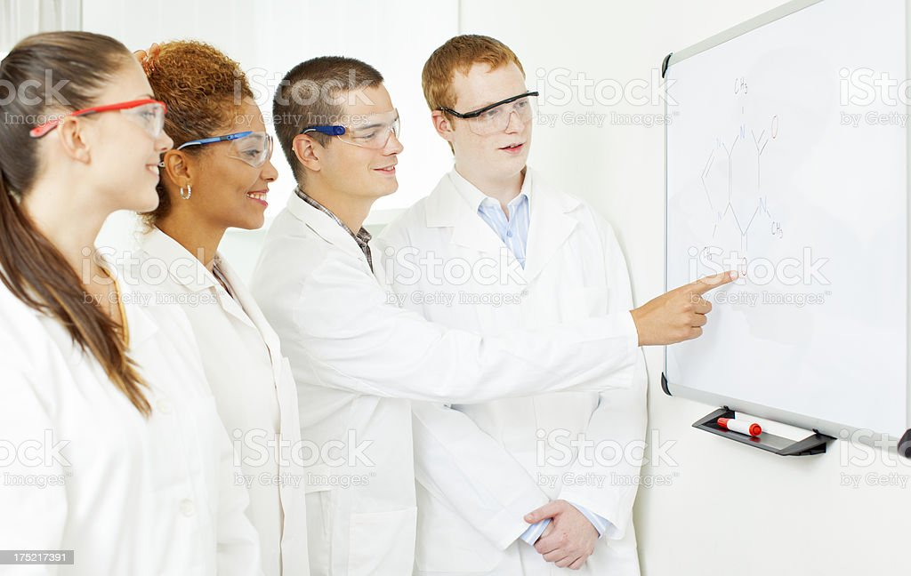Group of Young Scientists Having Discussion. royalty-free stock photo