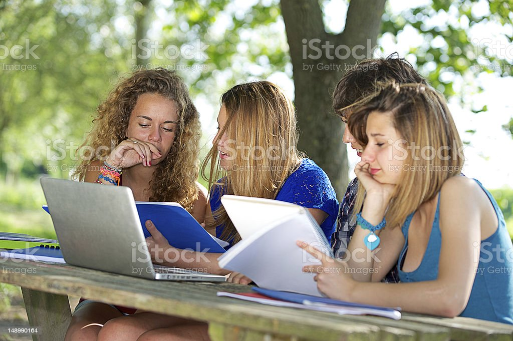 Group of young student using laptop outdoor royalty-free stock photo