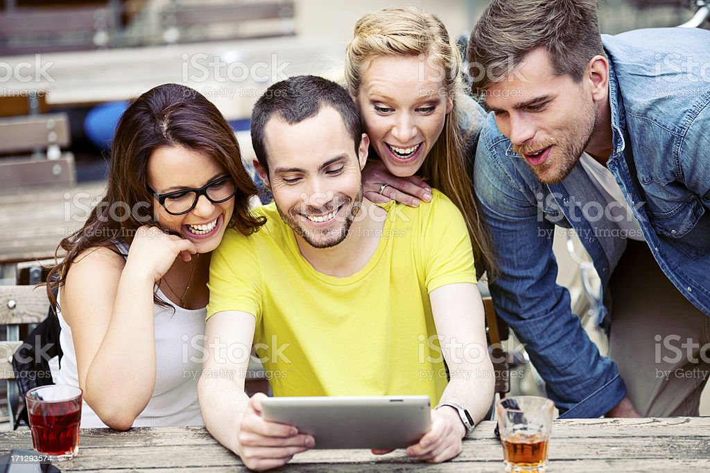 Group Of Young Students With Digital Tablet royalty-free stock photo
