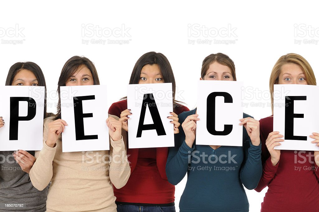 Group of Young Woman Showing Peace Sign royalty-free stock photo