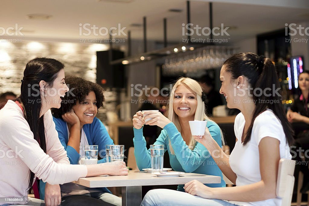 group of young women on coffee break stock photo
