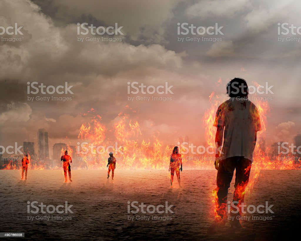 Group of zombie get burn stock photo