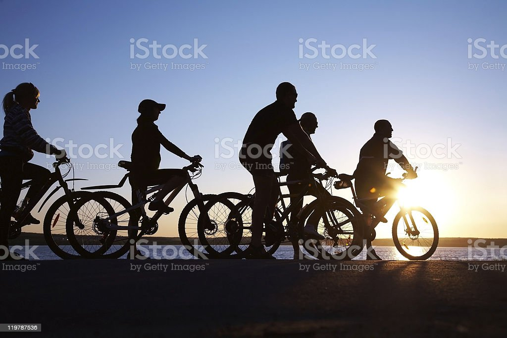 group on bicycles stock photo