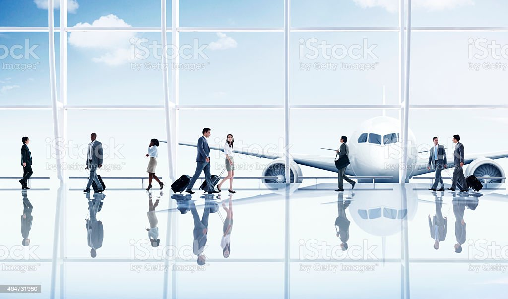 Group People Airport Business Travel Communication Concept stock photo