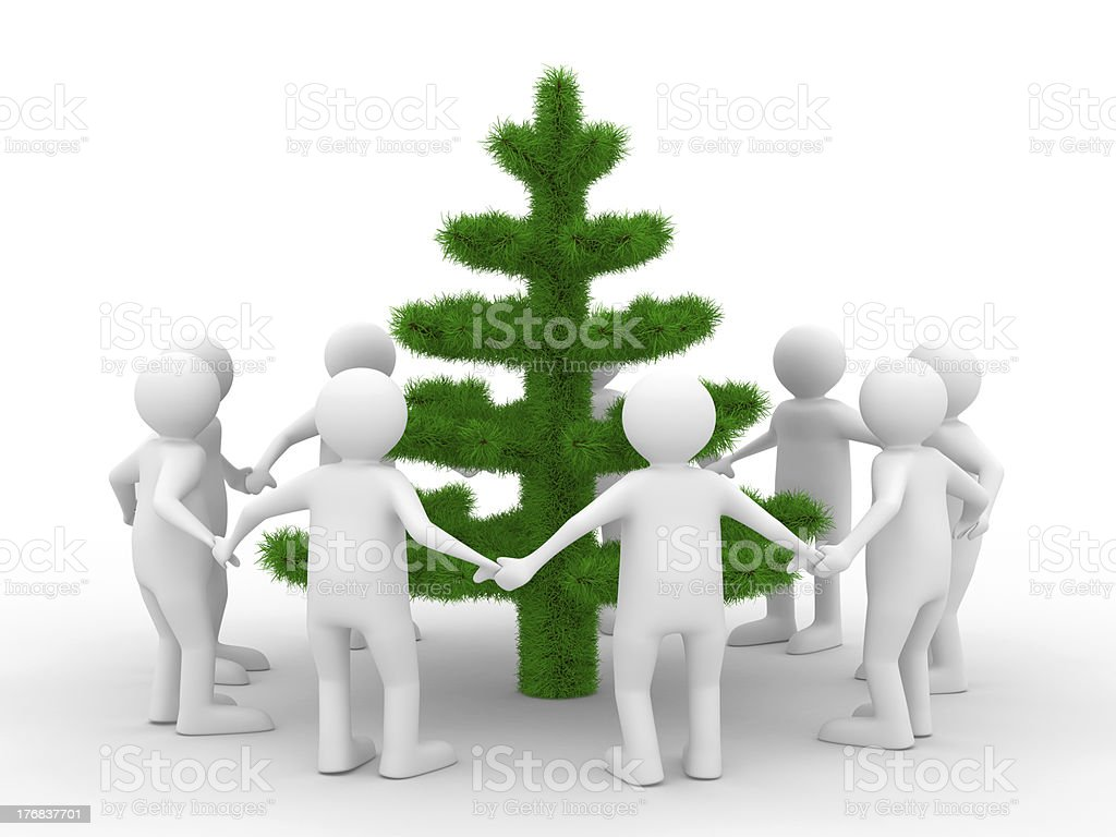 Group people around christmas tree. Isolated 3d image royalty-free stock photo