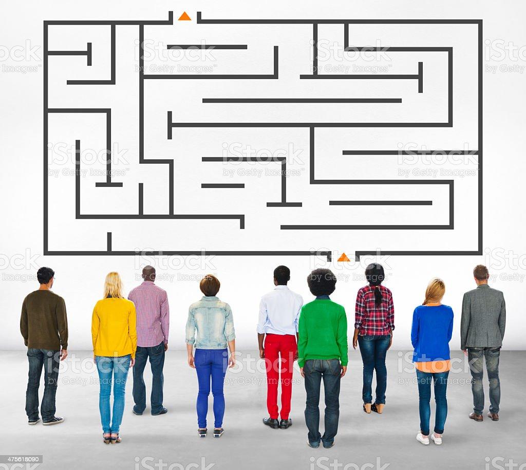 Group People Diverse Maze Puzzle Concept stock photo