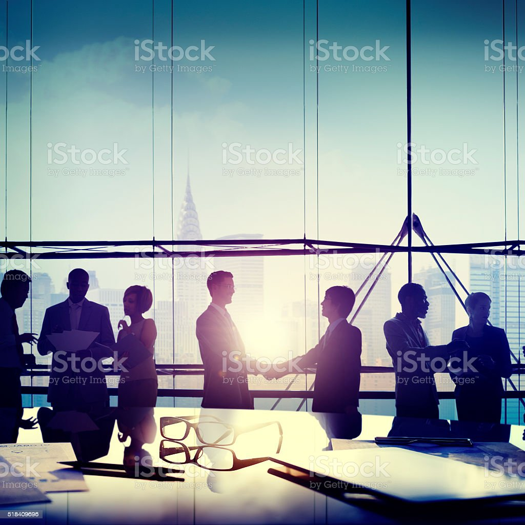 Group People Silhouette Communication Office Concept stock photo
