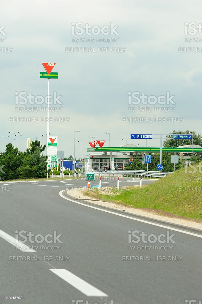 MOL Group petrol station on Hungarian highway stock photo
