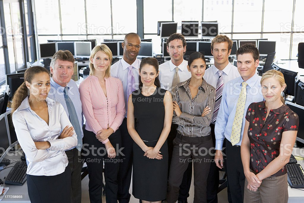 Group Photo Of Stock Traders Team stock photo