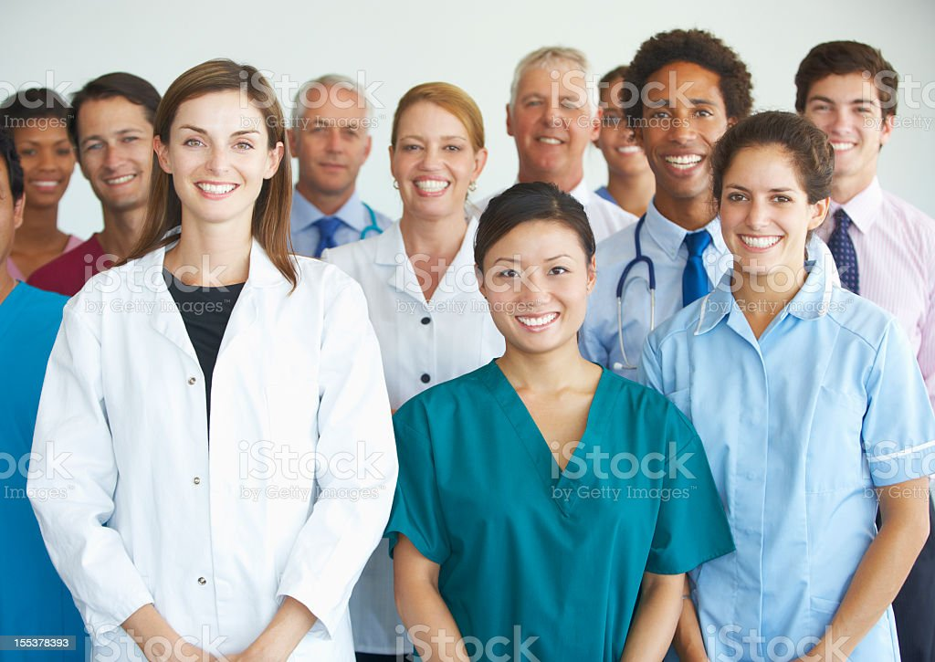 Group picture of medical professionals smiling royalty-free stock photo
