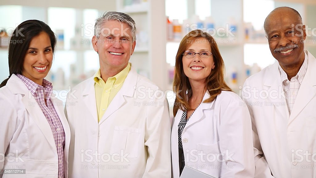 Group portrait of doctors and healthcare workers. stock photo