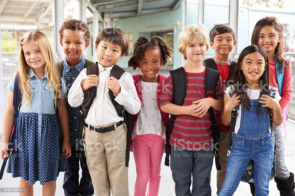 Group portrait of elementary school kids in school corridor stock photo