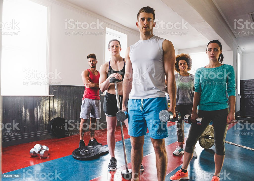 Group Portrait of Personal Trainers and Gym Instructors stock photo