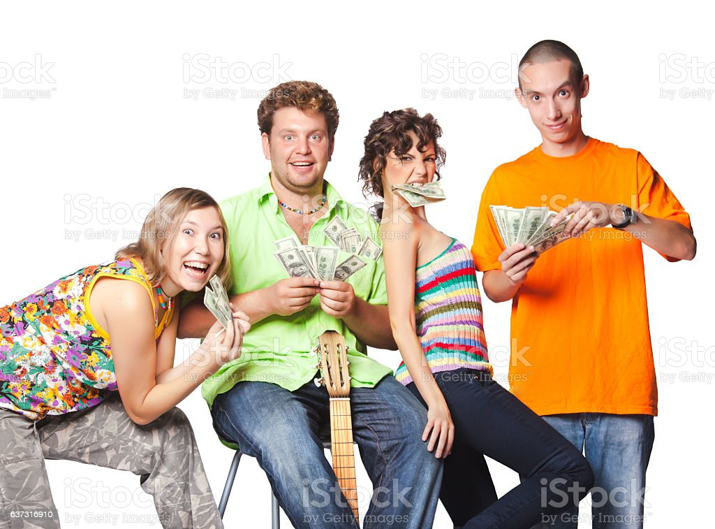 Group portrait of the actor enjoy play money stock photo