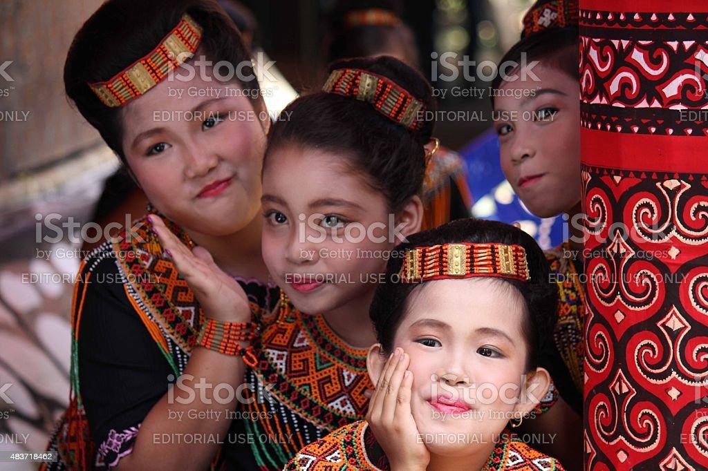 Group Portrait of Torajan girls stock photo