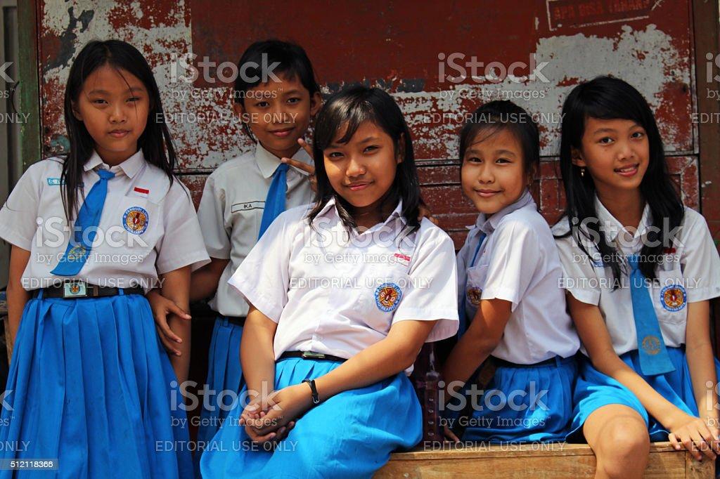 Group portrait of uniformed school girls stock photo
