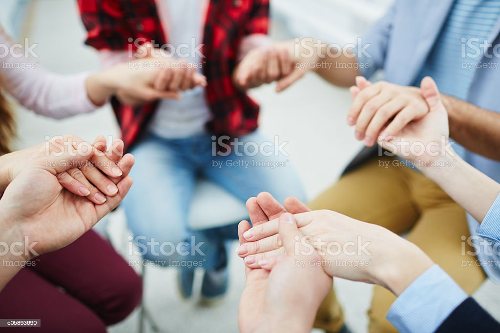 Group pray stock photo