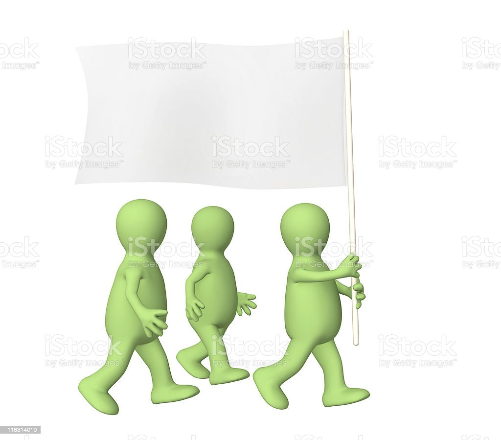 Group puppets, going with a flag royalty-free stock photo