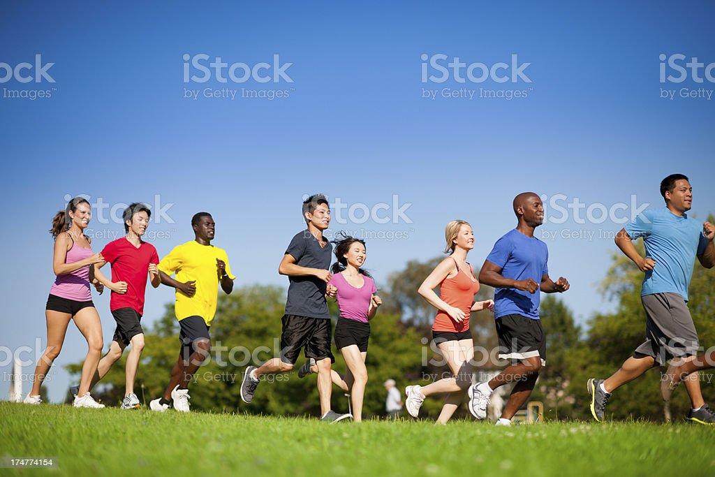 Group run. stock photo