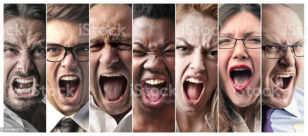 Group scream stock photo