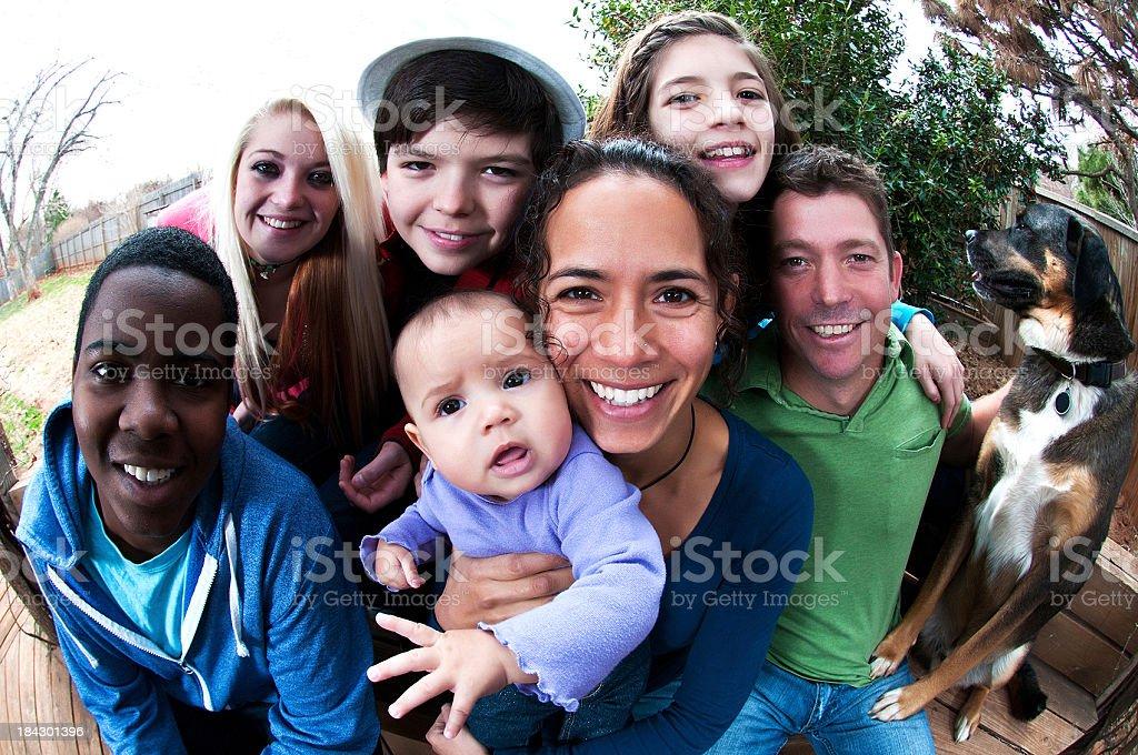 Group shot of family stock photo