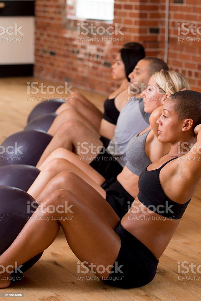 Group Sit Ups stock photo