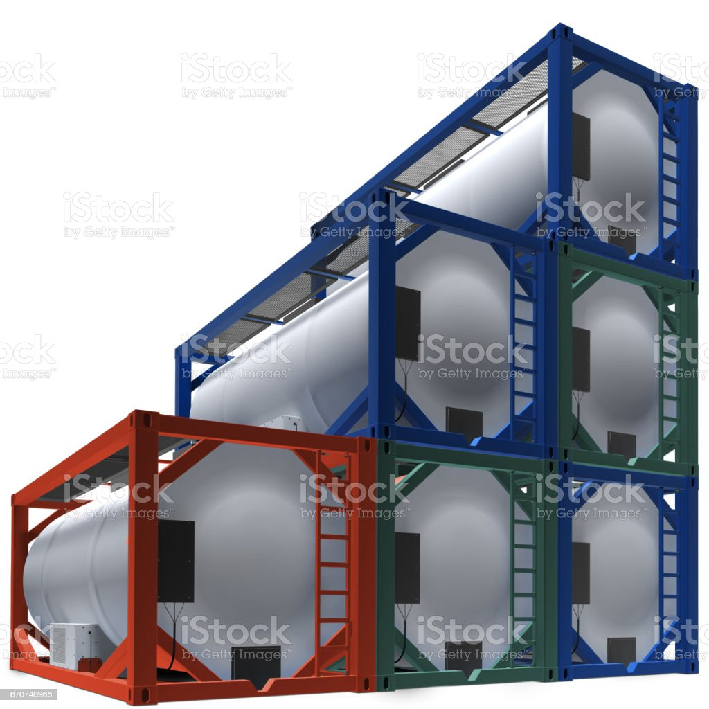 Group tanks container stock photo