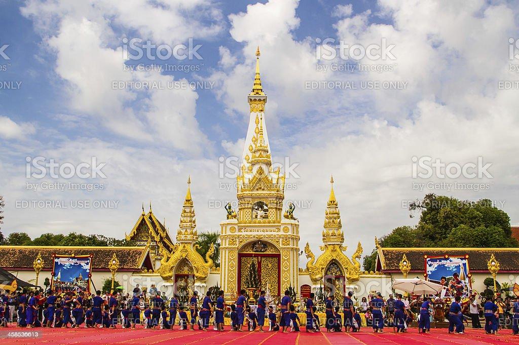 Group thai dancing worship pagoda royalty-free stock photo